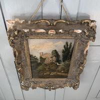 Antique Victorian landscape oil painting study of a ruin with sheep (6 of 10)