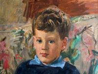 'Boy with Toy' Thomas Sherwood La Fontaine Superb Oil Portrait Painting (4 of 13)
