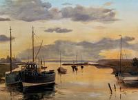 'the Estuary At Sundown' A Large Superb Original Vintage Seascape Oil Painting (10 of 12)