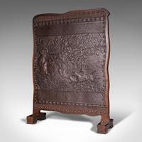 Antique Embossed Fire Screen, Oak, Leather, Fireside, Arts & Crafts, Edwardian (3 of 12)