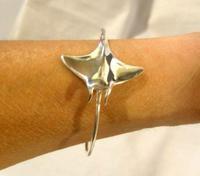 "Vintage Silver 925 Stingray Bangle 1970s Fish Bracelet 7 1/4"" Length 17.8 Grams (4 of 11)"