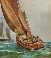 Att: William Boyce 19th Century Sailing Smack Seascape Watercolour Painting (5 of 11)