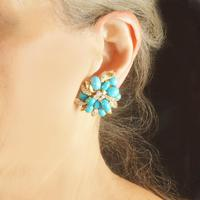 Vintage Julius Cohen Cluster Earrings Turquoise & Diamond 1960s Flower Earrings (12 of 12)