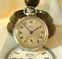 Vintage Pocket Watch 1955 Services Army Two Tone Dial Chrome Case FWO (2 of 10)