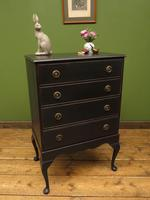 Antique Black Painted Chest of Drawers, Gothic shabby chic (4 of 15)