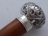 Edwardian Bailiff Walking Stick Cane 1903 Solid Silver Pommel Malacca Shaft (6 of 11)