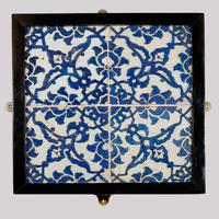A panel of four square Ottoman Empire 'Dome of the Rock' tiles (2 of 6)