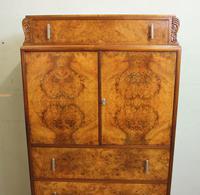 Burr Walnut Art Deco Tallboy Chest of Drawers (9 of 12)