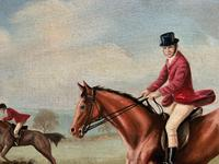 'The Fox Hunt' Original Vintage Country Sporting Pursuit Oil on Canvas Painting (8 of 17)