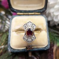 Art Deco 18ct Gold, Platinum Ruby & Diamond Shield Ring (5 of 8)
