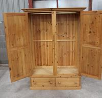 1960s Country Pine 2 Door Wardrobe with Base Drawers and Carved Detail (3 of 5)