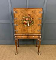 Floral Painted Burr Walnut Cabinet on Stand (12 of 15)