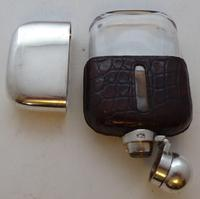 Small 1930 Silver Plate Plated Crocodile Skin Bound Glass Hip Flask James Dixon (8 of 8)