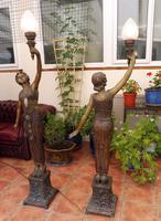 2 Bronze Art Nouveau Style Lamps (7 of 12)