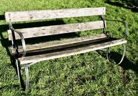 Old Weathered Oak and Iron 6 Bar Garden Bench (6 of 6)