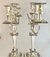 Pair of Edwardian Silver Plated Candelabra (4 of 12)