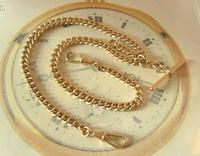 Antique Pocket Watch Chain 1890s Victorian Large 10ct Rose Rolled Gold Albert With T Bar (4 of 12)