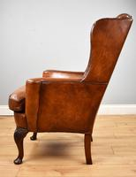 Victorian Hand Dyed Brown Leather Wing Back Armchair (5 of 13)