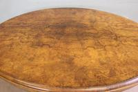 Antique Victorian Burr Walnut Oval Loo Dining Table. (6 of 11)