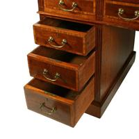Victorian Mahogany & Satinwood Pedestal Desk (8 of 8)