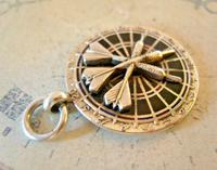 Vintage Pocket Watch Chain Fob 1952 Large Chrome & Enamel Downham Darts Fob (5 of 7)