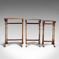 Antique Trio of Nest Tables, English, Walnut, Mahogany, Nesting, Side, Edwardian (4 of 12)