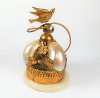Rare 19th Century Palais Royal Gilt Dove Bird & Mother of Pearl Bell (11 of 12)