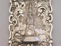 Victorian Silver Castle-top Card Case Martyrs Memorial Oxford by Frederick Marson, Birmingham, 1850 (4 of 10)