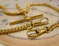 Vintage Pocket Watch Chain 1950s 14ct Rolled Gold Double Albert With Sliding T Bar (8 of 11)