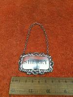 "Sterling Silver Hallmarked Decanter Label ""Sherry"" 1961 C J Vander Ltd (3 of 5)"