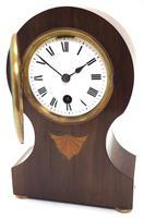 Fine Mahogany Edwardian Lancet Clock Burr Walnut Inlay Timepiece Mantel Clock (9 of 9)