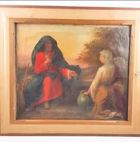 19th Century Oil on Canvas Double Sided Shepard. Jesus & Mary Magdalene (2 of 13)