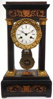 Antique Satinwood Inlaid Mantel Clock Rosewood French Striking Portico Mantle Clock (2 of 11)