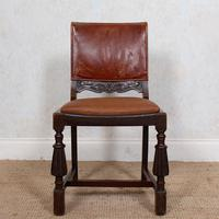 4 Carved Oak Leather Dining Chairs (10 of 12)