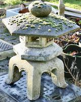 Weather Worn Granite Pagoda Garden Ornament Lantern (2 of 3)