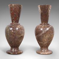 Pair of Antique Decorative Posy Vases, English, Granite, Flower Urn, Victorian (3 of 12)