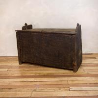 Late 18th Century Primitive Cedar Black Painted Settle / Trunk / Chest