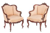 Fine Pair of Antique French Carved Walnut Library Chairs