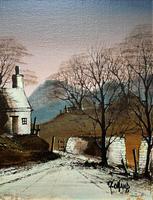 Ronald Folland Original Signed Winter Hamlet Landscape Oil Painting (3 of 12)