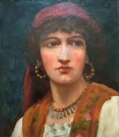 Fine Original 19th Century Antique Portrait Oil Painting of a Stunning Young Gypsy Girl (4 of 11)