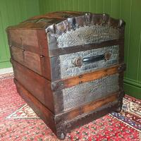 Antique Victorian Dome Top Steamer Trunk Old Gothic Travel Chest Metal Storage Box Steampunk Style (8 of 10)