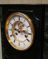 Mid 19th Century Polished Slate Visible Escapement Mantel Clock (10 of 16)