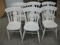 Set of 6 White Fiddle Back Kitchen Chairs