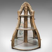 Antique Mirrored Corner Shelf, English, Gilt Gesso, Decorative Display, Regency (2 of 9)