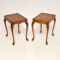 Pair of Antique Queen Anne Style Burr Walnut Side Tables (5 of 8)