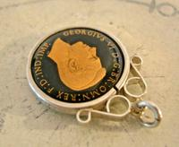 Vintage Pocket Watch Chain Silver Fob 1943 WW2 Multi Enamel Farthing Coin Fob (4 of 8)