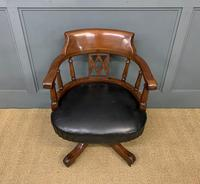 Victorian Mahogany & Leather Revolving Desk Chair (3 of 11)
