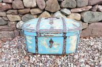 Scandinavian / Swedish 'Folk Art' Travel chest in blue paint and ironwork, 18th Century (2 of 37)