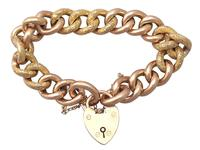 9ct Yellow Gold Bracelet with Heart Padlock Clasp - Antique c.1900 (2 of 9)