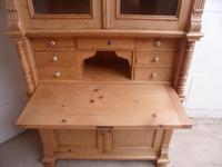 Victorian Waxed Antique Pine 2 Door 2 Piece Secretaire / Bookcase (8 of 10)